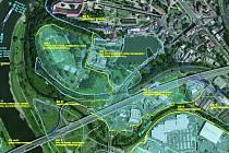Mapa kudy povede protipovodňová zeď.