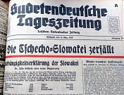 Německé noviny píší, že Česko-Slovensko přestalo existovat