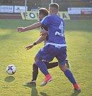 ŠLÁGR. Fotbalový Varnsdorf (v modrém) doma prohrál s Českými Budějovicemi 0:1.