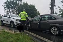 Dopravní nehoda dvou aut v Rybništi.