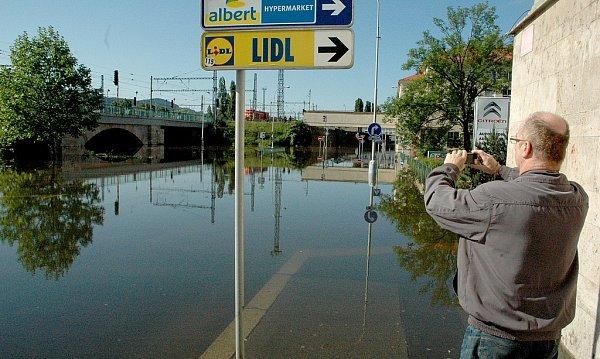Povodně vDěčíně 5.6.dopoledne