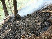 K dalšímu požáru lesa v těžko přístupném, skalnatém a odlehlém terénu Národního parku České Švýcarsko u Stříbrných stěn vyjíždělo šest jednotek hasičů.
