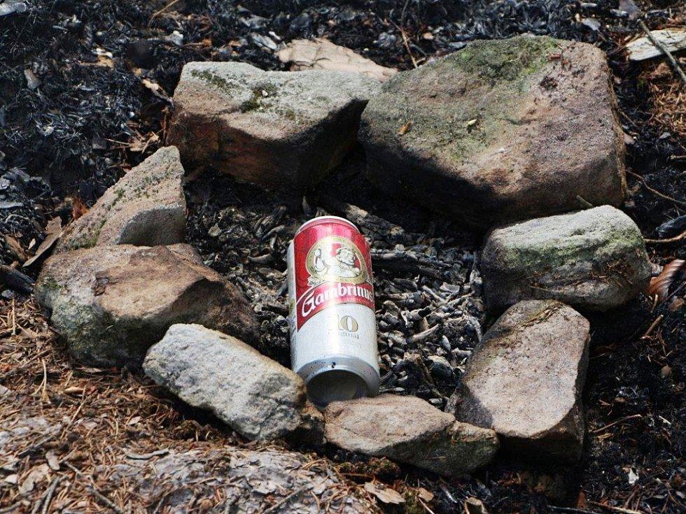 Požár lesa nad děčínským Bynovem