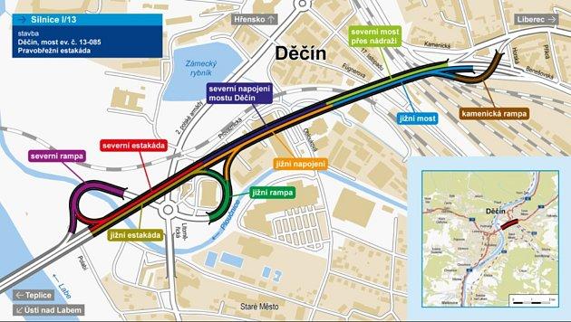 VDěčíně začne 6.září rekonstrukce Nového mostu. Mapka ukazuje, kde všude se bude opravovat.