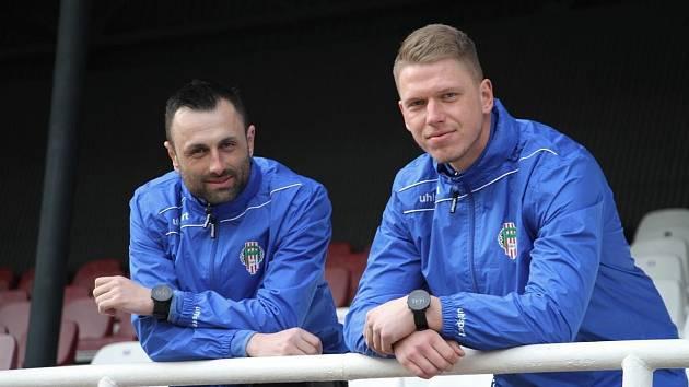 Jan Filip (vpravo) a David Oulehla - asistent trenéra a hlavní trenér na Žižkově.