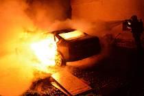 Požár osobního auta v Rumburku.