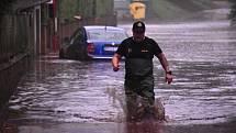 Povodeň po přívalovém dešti na Děčínsku 17. července