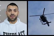 Policie pátrala po hledaném Robertu Grundzovi za pomoci vrtulníku.