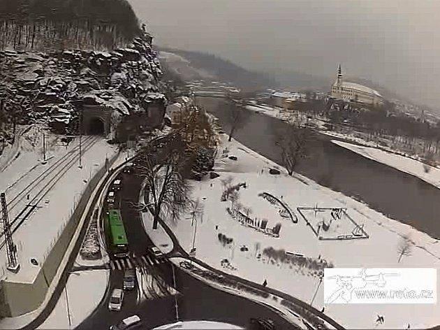 Pohled na Děčín z dronu.