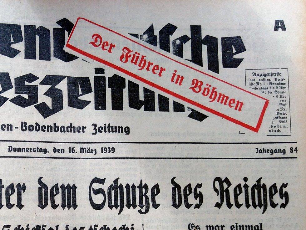 Německé noviny vycházející v Děčíně, den po okupaci.