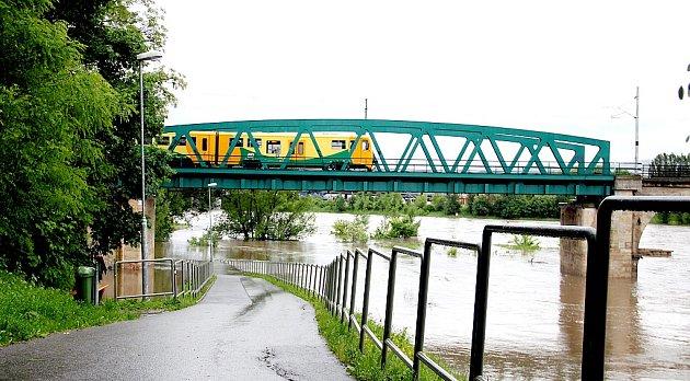 Voda v Děčíně 3. června 2013 ráno