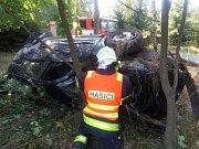 Vrak auta pomáhali likvidovat hasiči.