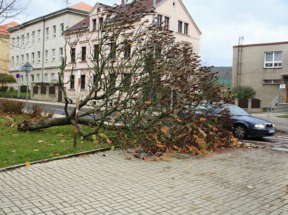 Vichřice řádila i na Starém Městě v Děčíně.