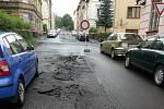 V Děčíně se propadla silnice Jiřího z Poděbrad.