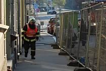 Únik plynu v Bezručově ulici.