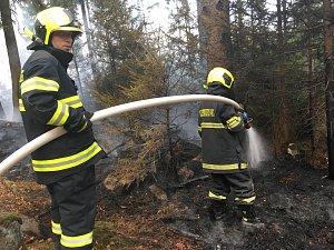 U Vlčí Hory hořel les.