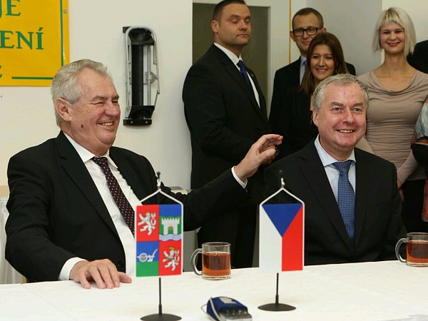 Miloš Zeman na setkání se zaměstnanci firmy Valdemar Grešík.