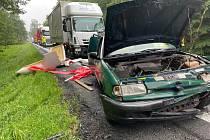 Na Lesném na Šluknovsku se srazila tři auta