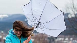 Proudění vzduchu, jak jej v pondělí dopoledne zaznamenala služba Windy.