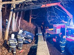 Dopravní nehoda ve Varnsdorfu, úterý 21. března 2017 večer.