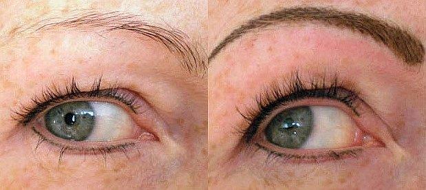 Rozdílové fotky permanentního make-upu obočí před a po jednom měsíci.