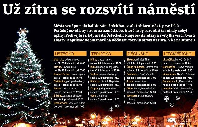 Kde a kdy rozsvítí vánoční strom