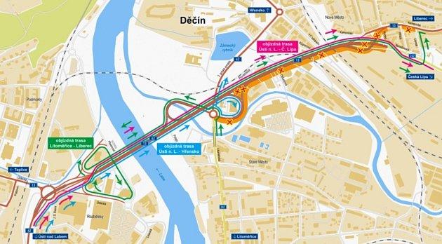 VDěčíně začne 6.září rekonstrukce Nového mostu. Na mapce jsou vyznačeny objízdné trasy.