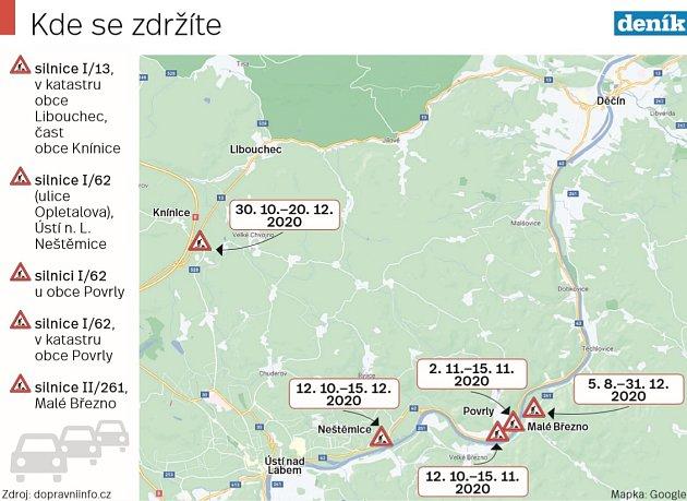 Mapa dopravních omezení na Děčínsku a Ústecku.
