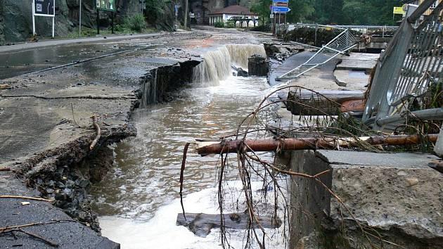 Velká voda ve Hřensku.