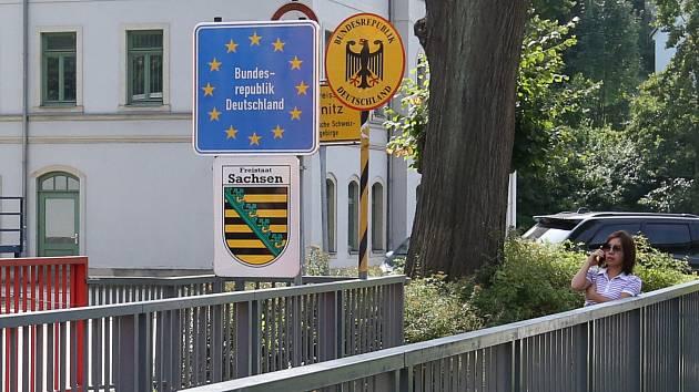 Česko-německá hranice v Dolní Poustevně.
