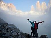 Zamlžené ranní Torres del Paine.