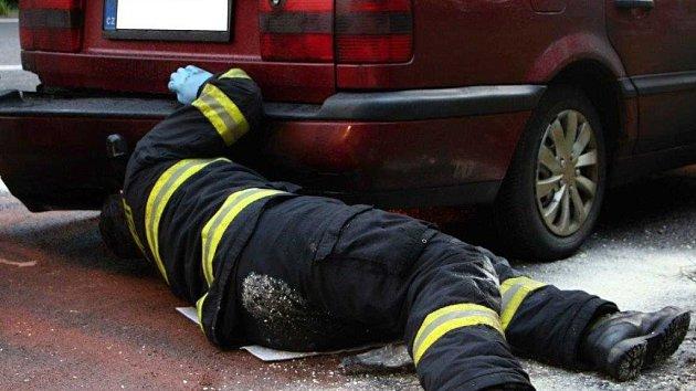 Požár osobního auta u Huntířova.