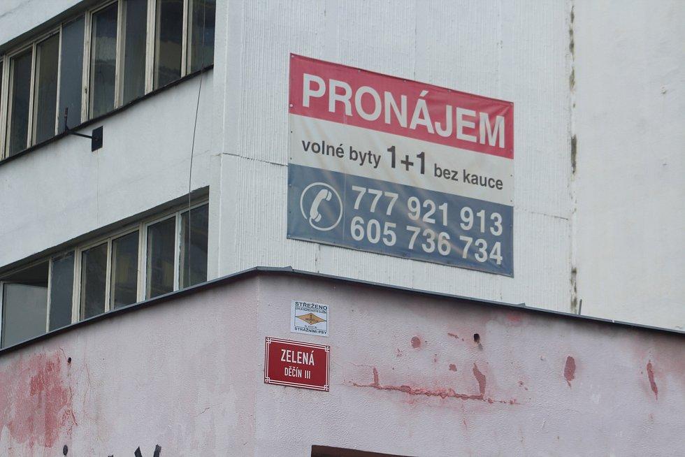 Vybydlený dům v Děčíně v Zelené ulici.