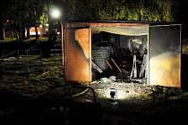 Požár garáže v Rumburku