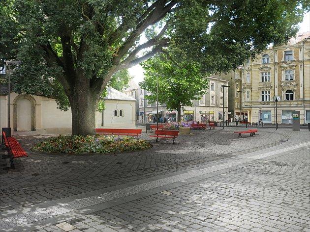 Vizualizace budoucí podoby Husova náměstí v Děčíně.