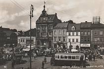 Česká Kamenice, náměstí v roce 1940.