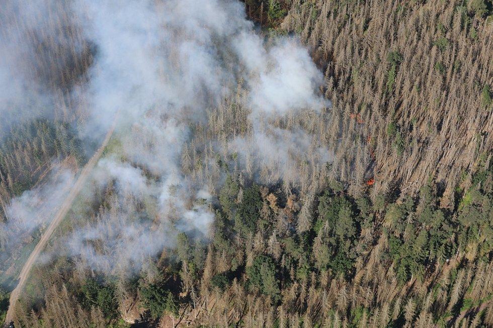 U Zadních Jetřichovic zasahují hasiči u lesního požáru.