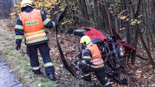 Nehoda osobního auta v Rumburku.