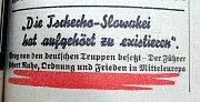 Německé noviny píší, že Česko-Slovensko přestalo existovat.