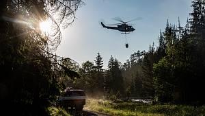Zásah vrtulníku u Zadních  Jetřichovic.