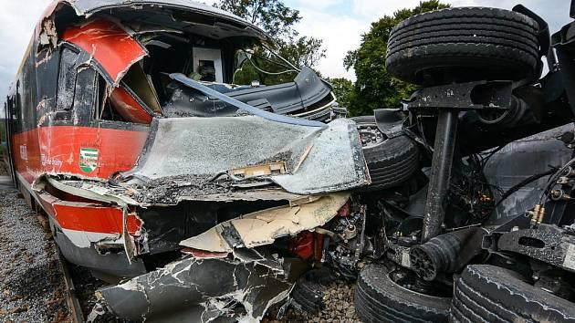 Nehoda vlaku ve Šluknově.