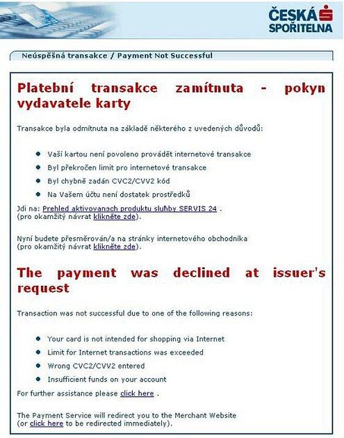 Tak vypadá jeden z podvodných mailů. Naprosto nedokonalá čeština už ukazuje na to, že mail není v pořádku a že ho určitě Česká spořitelna neodeslala.