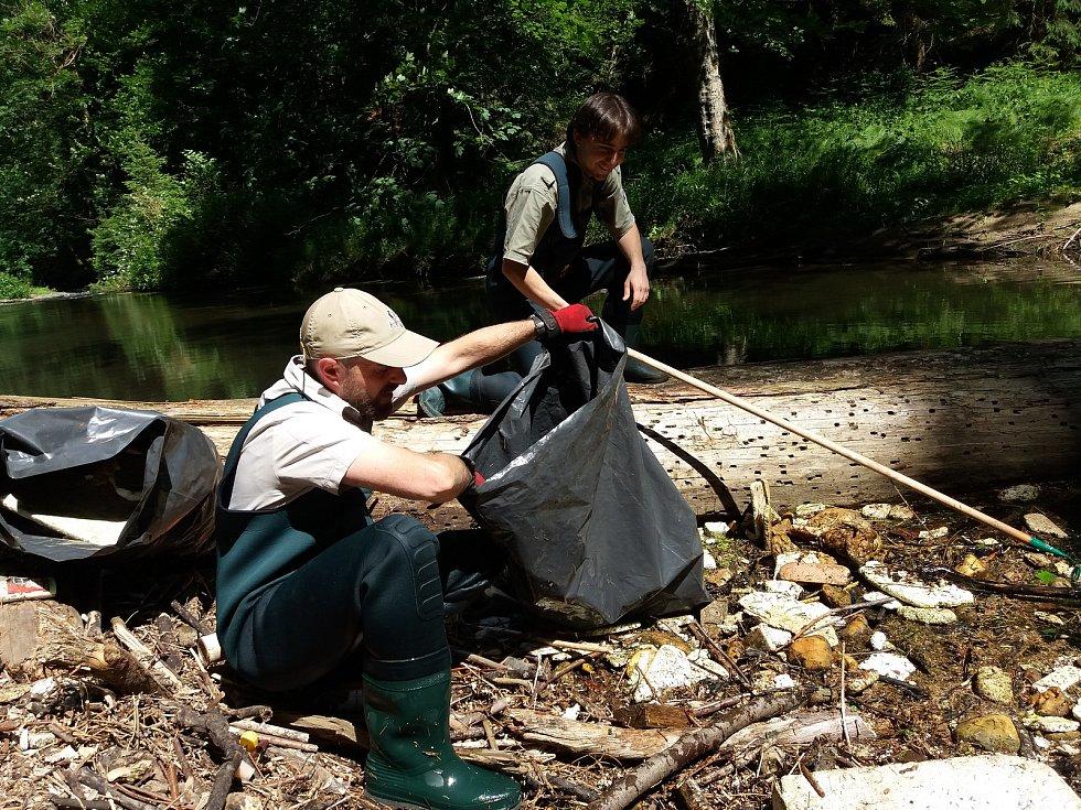 Ostrov odpadků v říčce Kamenici uklidili pracovníci národního parku.