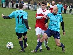 DERBY OPĚT PRO JÍLOVÉ! Fotbalisté Jílového vyhráli na podzim v Modré (na snímku). A jarní odvetu také zvládli, jelikož svého rivala porazili 3:1.
