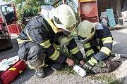 Požár rodinného domu v Dolním Podluží.