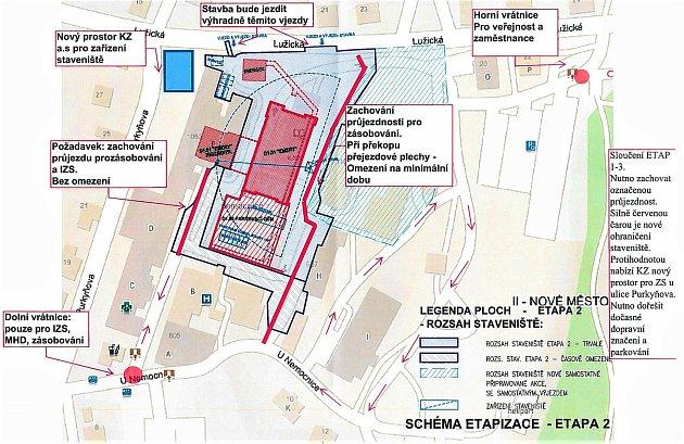 Dopravní omezení vděčínské nemocnici.
