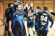 DAŘÍ SE. V posledním zápase letošního roku porazili florbalisté Děčína (modrá) Plzeň 8:5.