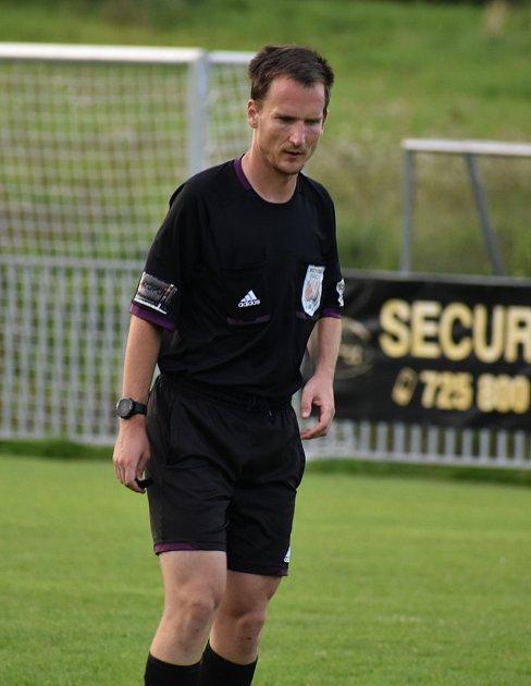 Tomáš Křeček při utkání okresního přeboru Malšovice - Boletice nad Labem.