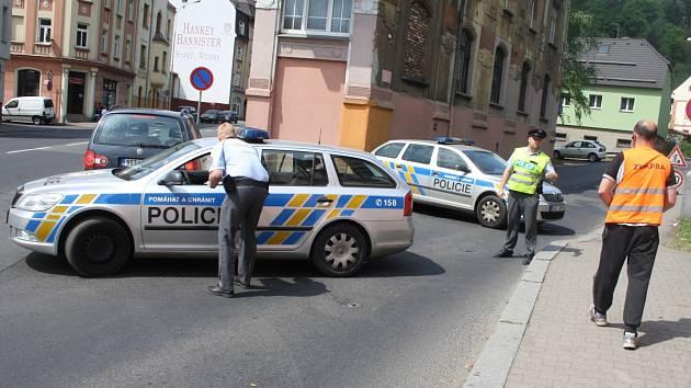 Saská ulice v Děčíně byla kvůli nálezu munice uzavřena.