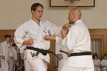 SEMIŃÁŘ karate proběhl v Litoměřicích. Na snímku Jan Steklý (4dan JKA)  a asistent učitele Tomáš Baudiš (2dan JKA)
